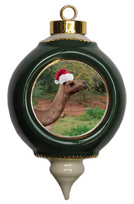 Camel Victorian Green and Gold Christmas Ornament