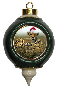 Cheetah Victorian Green and Gold Christmas Ornament