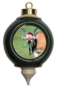 Eland Victorian Green and Gold Christmas Ornament