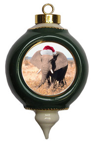 Elephant Victorian Green and Gold Christmas Ornament