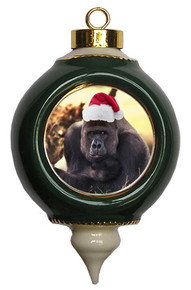 Gorilla Victorian Green and Gold Christmas Ornament