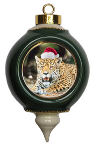Jaguar Victorian Green and Gold Christmas Ornament