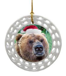 Bear Porcelain Christmas Ornament