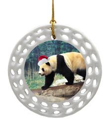 Panda Bear Porcelain Christmas Ornament