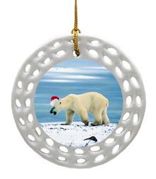 Polar Bear Porcelain Christmas Ornament