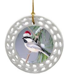 Chickadee Porcelain Christmas Ornament