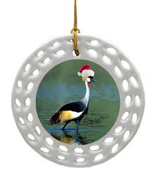 Crowned Crane Porcelain Christmas Ornament