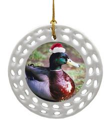 Duck Porcelain Christmas Ornament