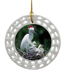 Egret Porcelain Christmas Ornament