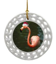 Flamingo Porcelain Christmas Ornament