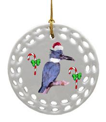 Belted Kingfisher Porcelain Christmas Ornament