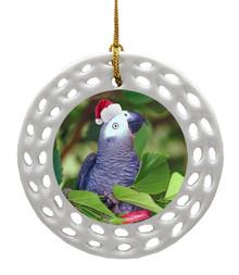 African Grey Parrot Porcelain Christmas Ornament