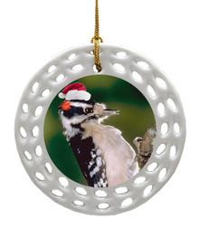 Downey Woodpecker Porcelain Christmas Ornament