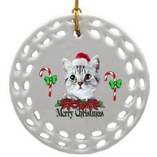 American Shorthair Cat Porcelain Christmas Ornament