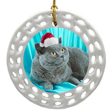 British Shorthair Cat Porcelain Christmas Ornament