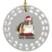 Calico Cat Porcelain Christmas Ornament
