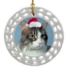 Cat Porcelain Christmas Ornament