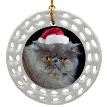 Persian Cat Porcelain Christmas Ornament
