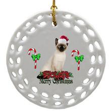 Siamese Cat Porcelain Christmas Ornament