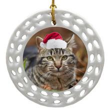 Tabby Cat Porcelain Christmas Ornament