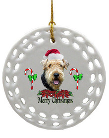 Airedale Porcelain Christmas Ornament