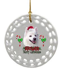American Eskimo Dog Porcelain Christmas Ornament