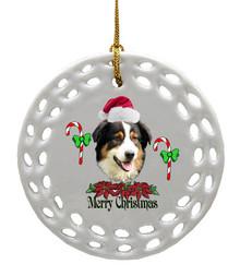 Australian Shepherd Porcelain Christmas Ornament