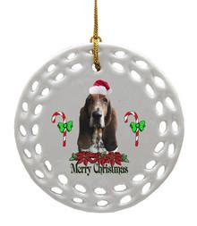 Basset Hound Porcelain Christmas Ornament