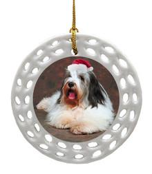 Bearded Collie Porcelain Christmas Ornament