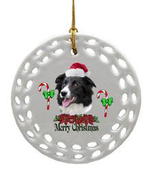 Border Collie Porcelain Christmas Ornament