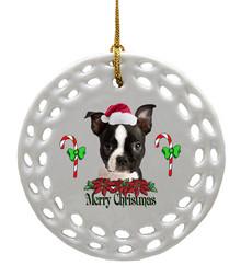 Boston Terrier Porcelain Christmas Ornament