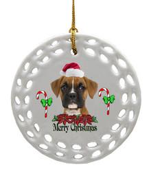 Boxer Porcelain Christmas Ornament