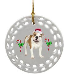 Bulldog Porcelain Christmas Ornament