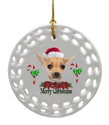 Chihuaha Porcelain Christmas Ornament