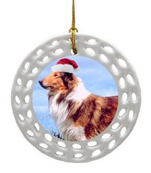 Collie Porcelain Christmas Ornament