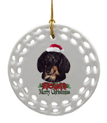 Dachshund Porcelain Christmas Ornament