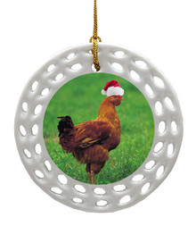 Chicken Porcelain Christmas Ornament