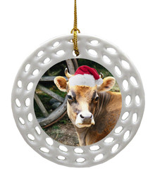 Cow Porcelain Christmas Ornament