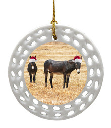 Donkey Porcelain Christmas Ornament