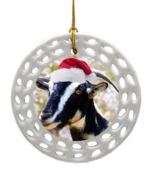 Goat Porcelain Christmas Ornament