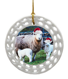 Lamb Porcelain Christmas Ornament