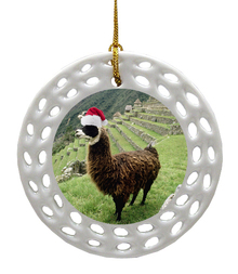 Llama Porcelain Christmas Ornament