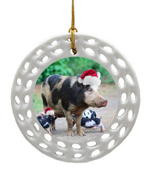 Pig Porcelain Christmas Ornament