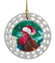 Rooster Porcelain Christmas Ornament