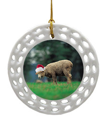 Sheep Porcelain Christmas Ornament