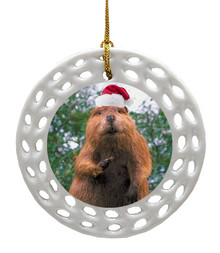 Beaver Porcelain Christmas Ornament