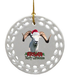 Big Horned Sheep Porcelain Christmas Ornament