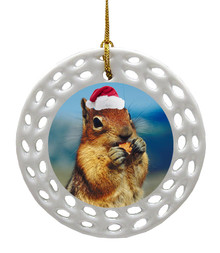 Chipmunk Porcelain Christmas Ornament