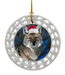 Coyote Porcelain Christmas Ornament