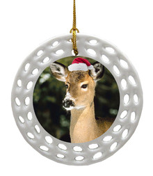 Deer Porcelain Christmas Ornament